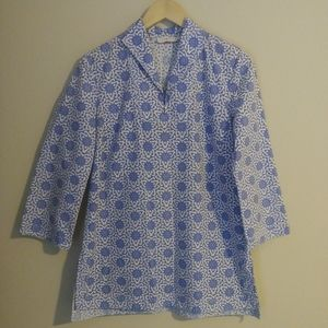 Tory Burch Blue and White Blouse Size 8